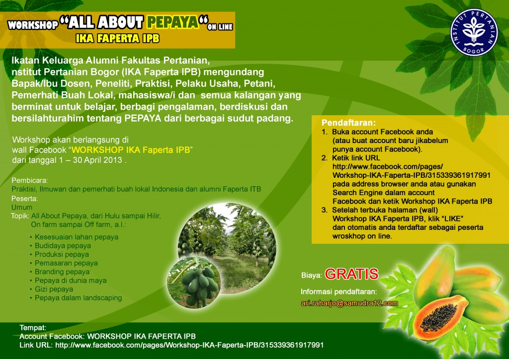 "Online Workshop's Brochure of  ""All About Papaya"""