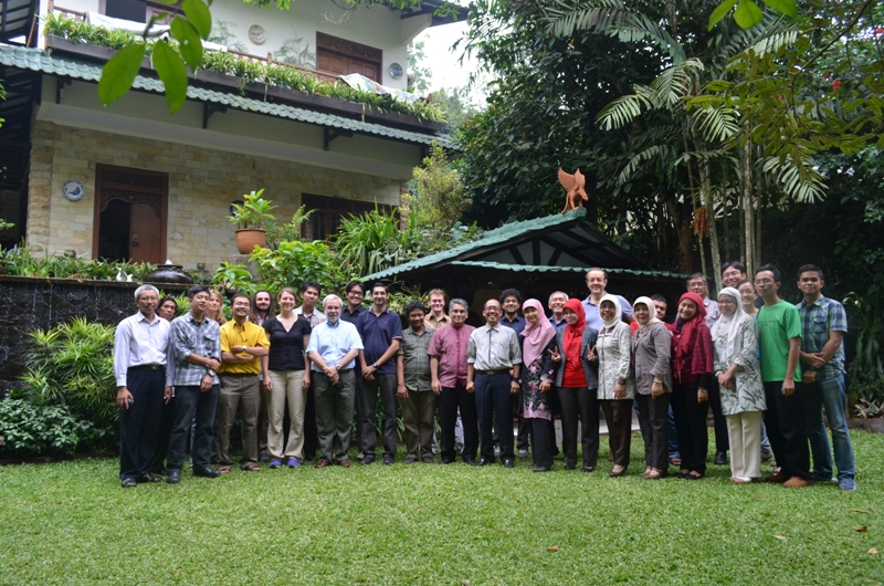 Group picture of Ciliwung workshop participants: IPB's researchers, ETH Zurich researchers, NUS Singapore researchers and NGOs at GG House Happy Valley Bogor