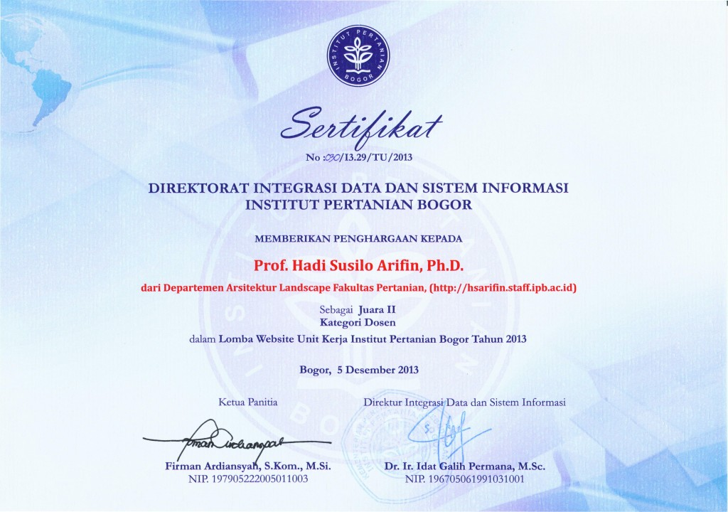 Certificate of the 2nd Prize Winner of IPB Website Competition - 2013.